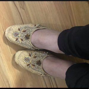 Golden Embellished heel sandals